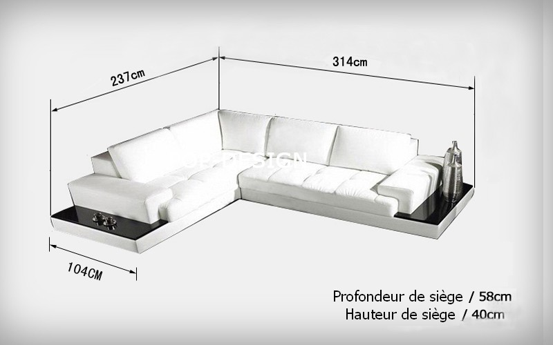 canap d 39 angle design en cuir loretto avec casiers de rangement. Black Bedroom Furniture Sets. Home Design Ideas