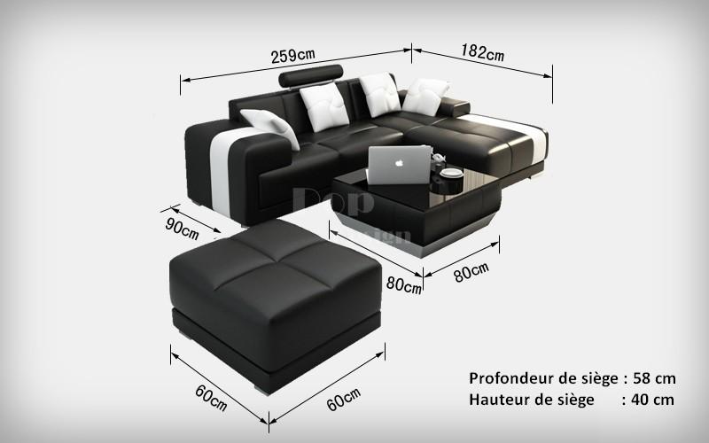 Canap d 39 angle en cuir rimini pouf pop - Canape d angle luxe design ...