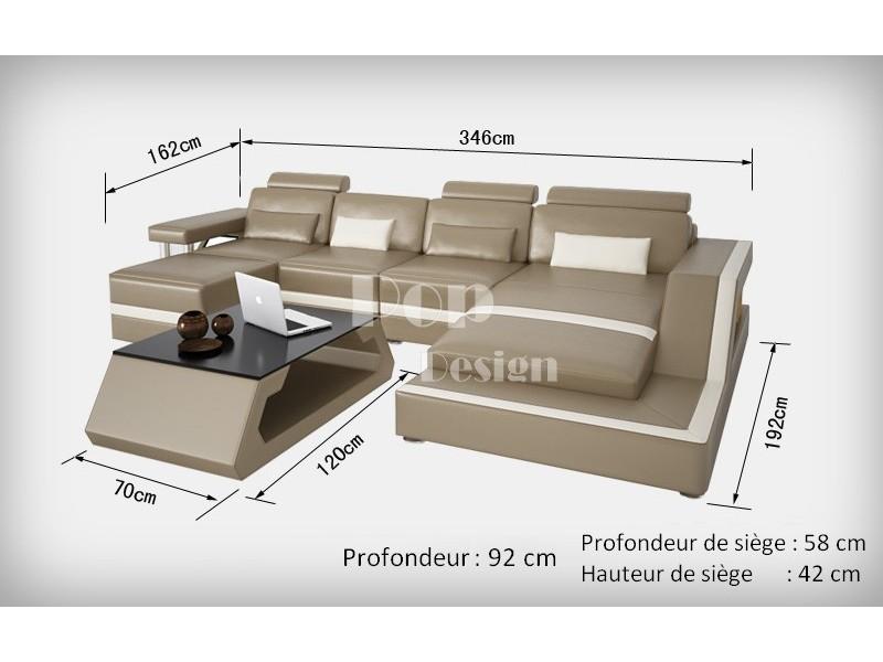 Canap d 39 angle design en cuir v ritable tosca pouf pop - Dimensions canape d angle ...