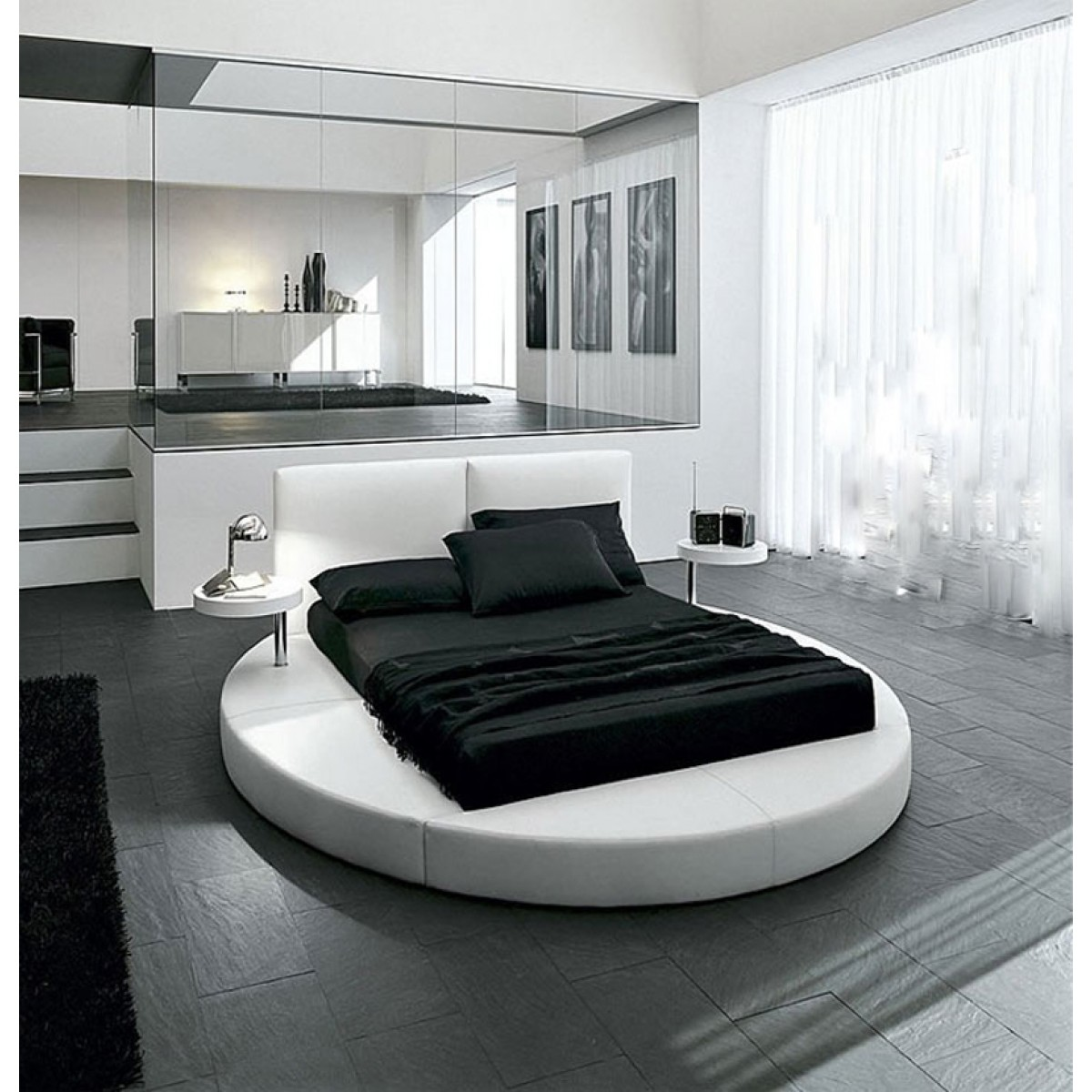lit rond personnalisable maldives 140 160 180 cuir ou simili sommier. Black Bedroom Furniture Sets. Home Design Ideas