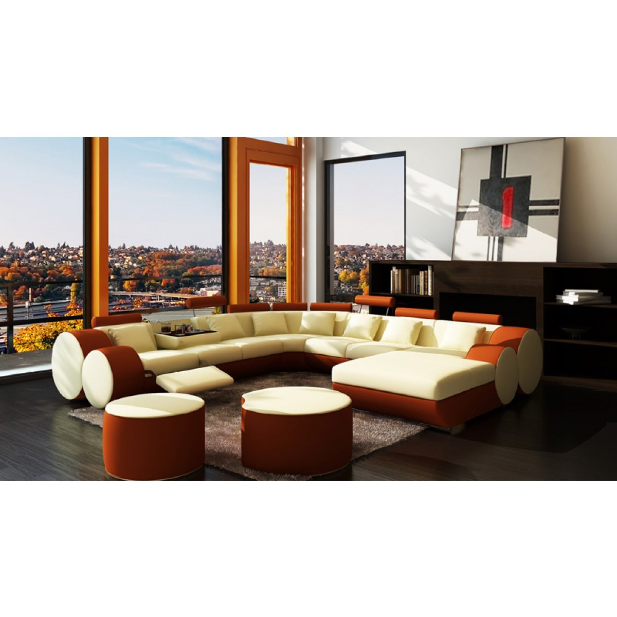 Canap panoramique en cuir rolls 8 places relax - Canape panoramique en cuir ...