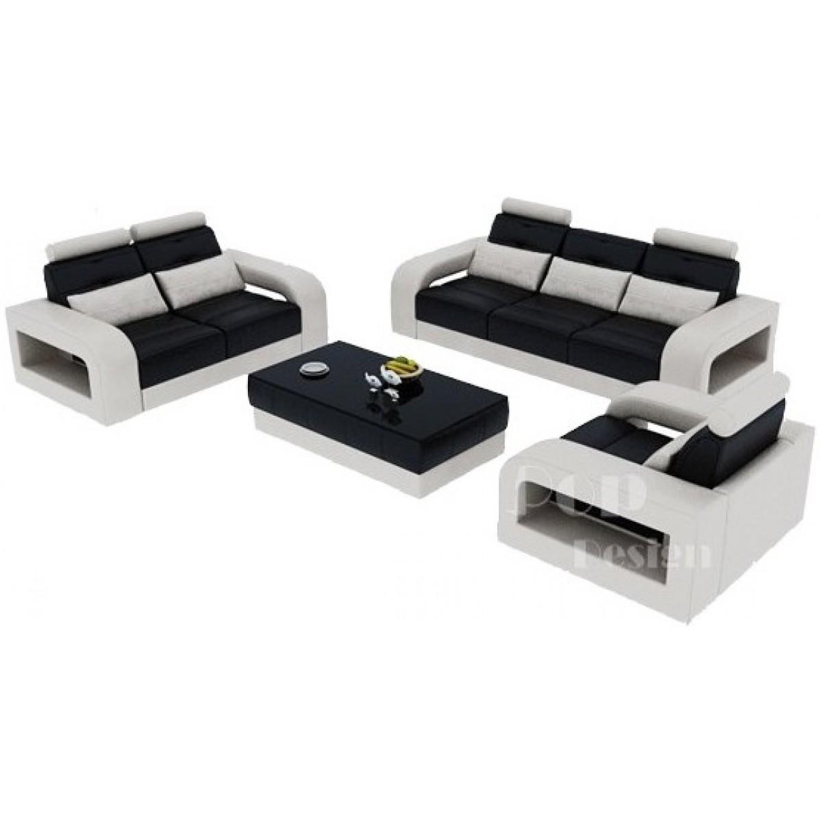 Salon set canap s personnalisable en cuir design salerno for Fauteuil canape design