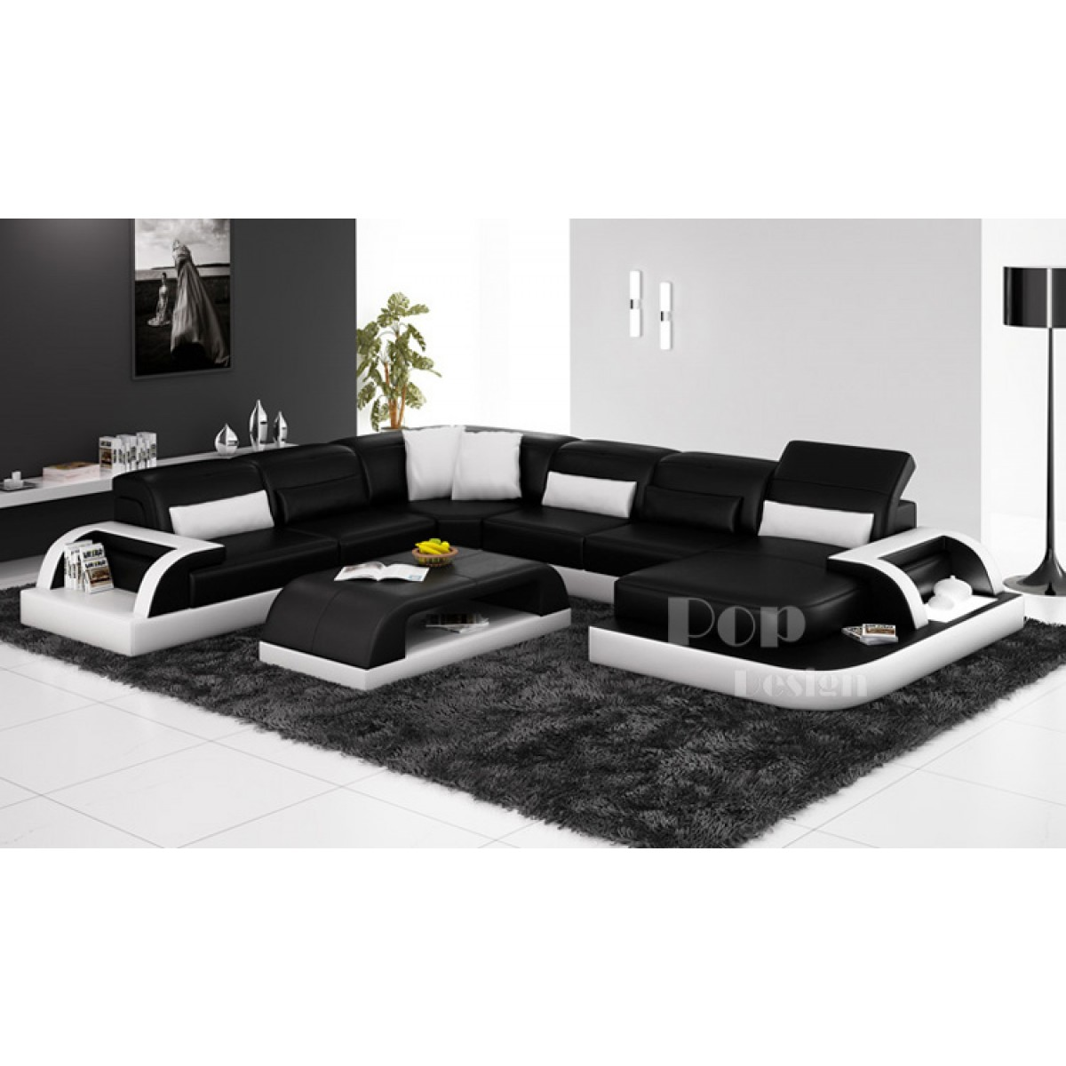 canape cuir noir blanc. Black Bedroom Furniture Sets. Home Design Ideas