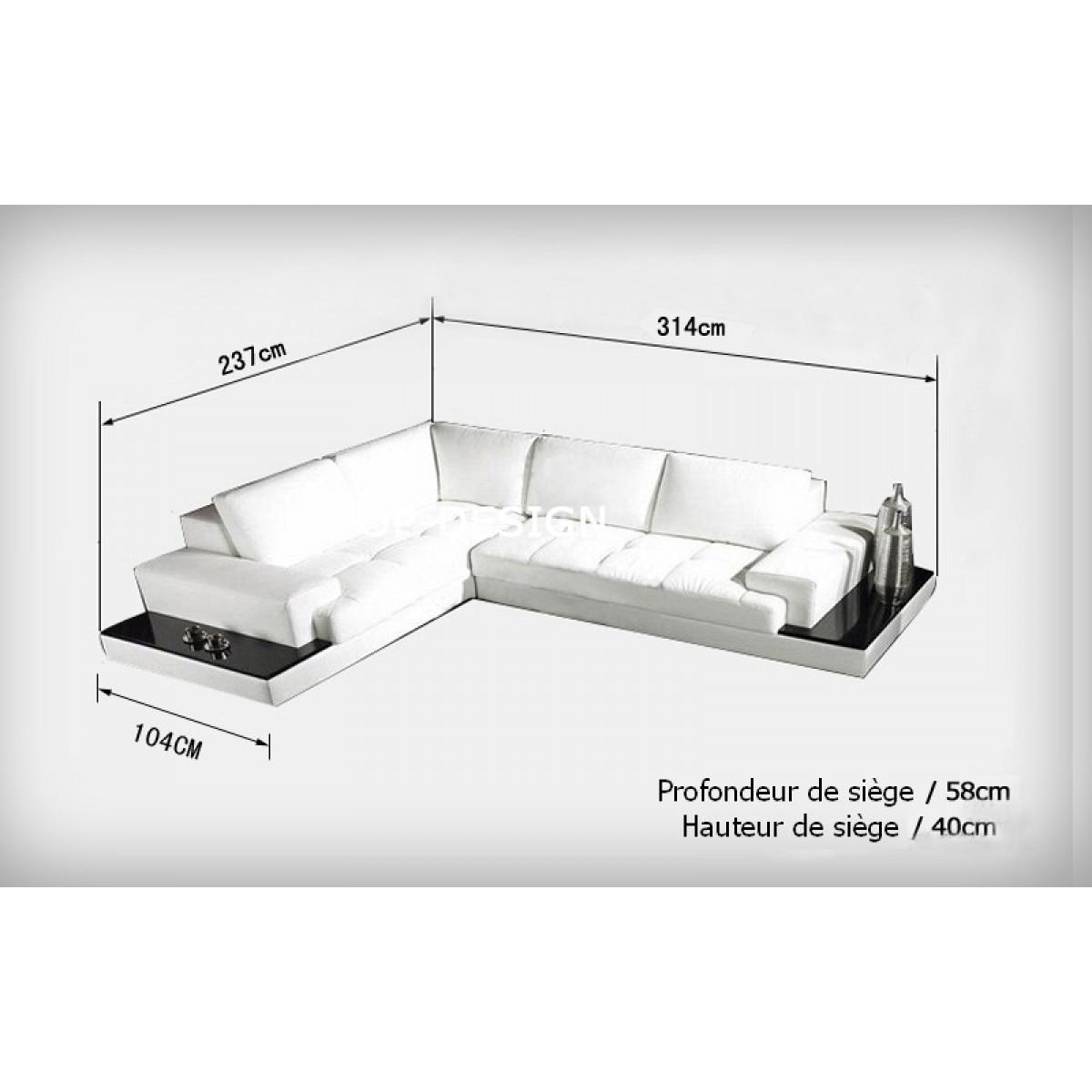 Canap d 39 angle design en cuir loretto avec casiers de rangement - Dimension canape angle ...