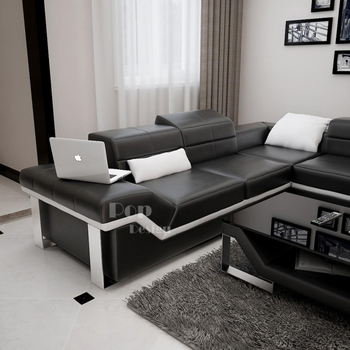 canap d 39 angle design en cuir pleine fleur torino l. Black Bedroom Furniture Sets. Home Design Ideas