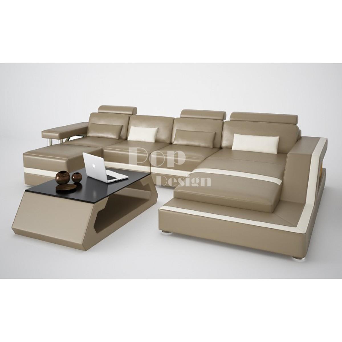 Canap d angle design pouf lit en option p n lope en cuir for Canape lit design