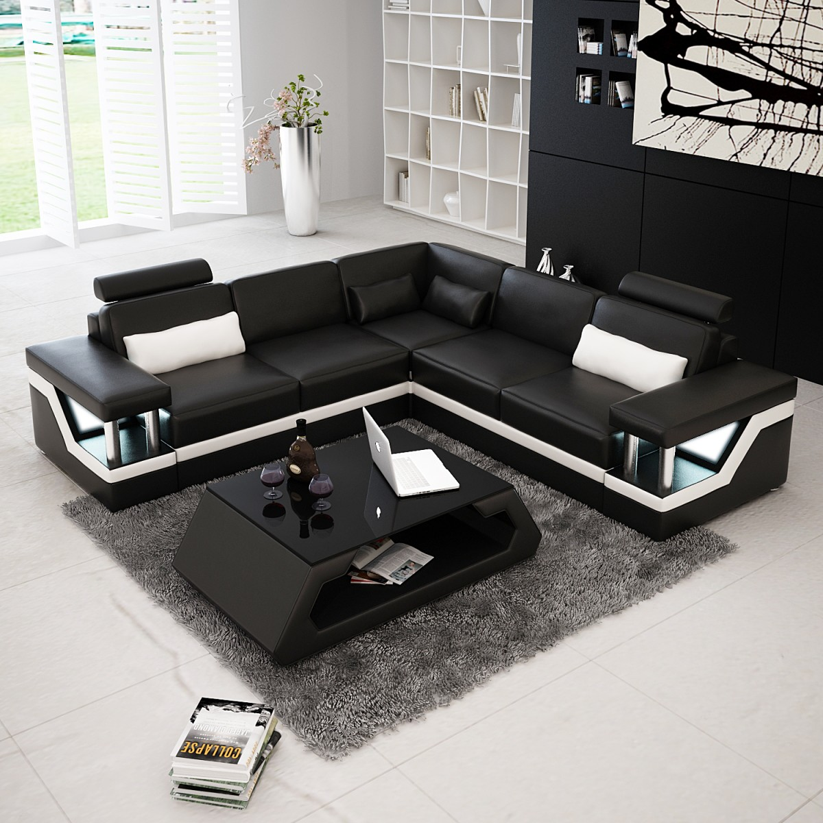 canap d 39 angle design en cuir v ritable tosca l lit convertible option canap s d 39 angle en. Black Bedroom Furniture Sets. Home Design Ideas