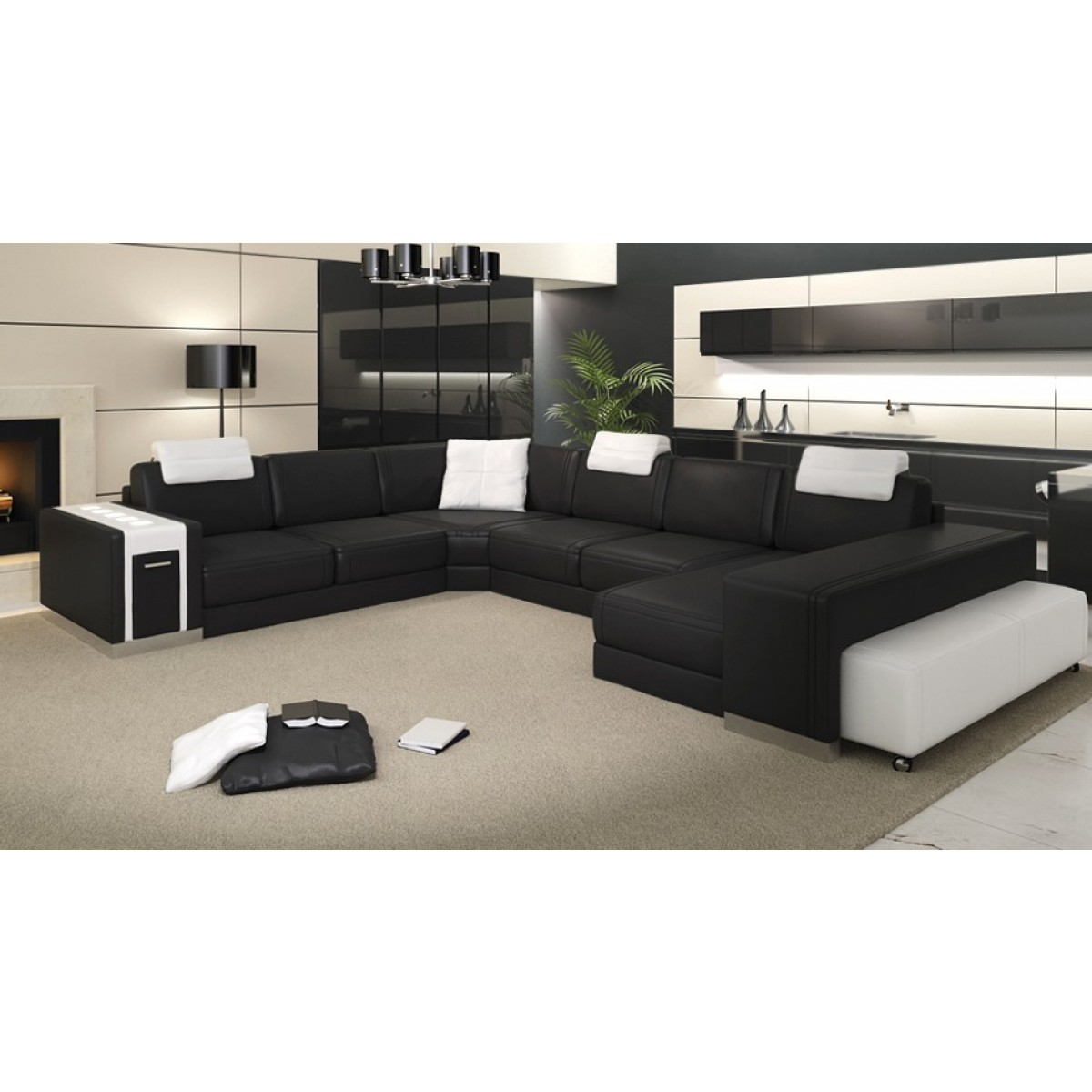 canap d 39 angle panoramique en cuir sao paulo avec clairages pouf 2 places. Black Bedroom Furniture Sets. Home Design Ideas