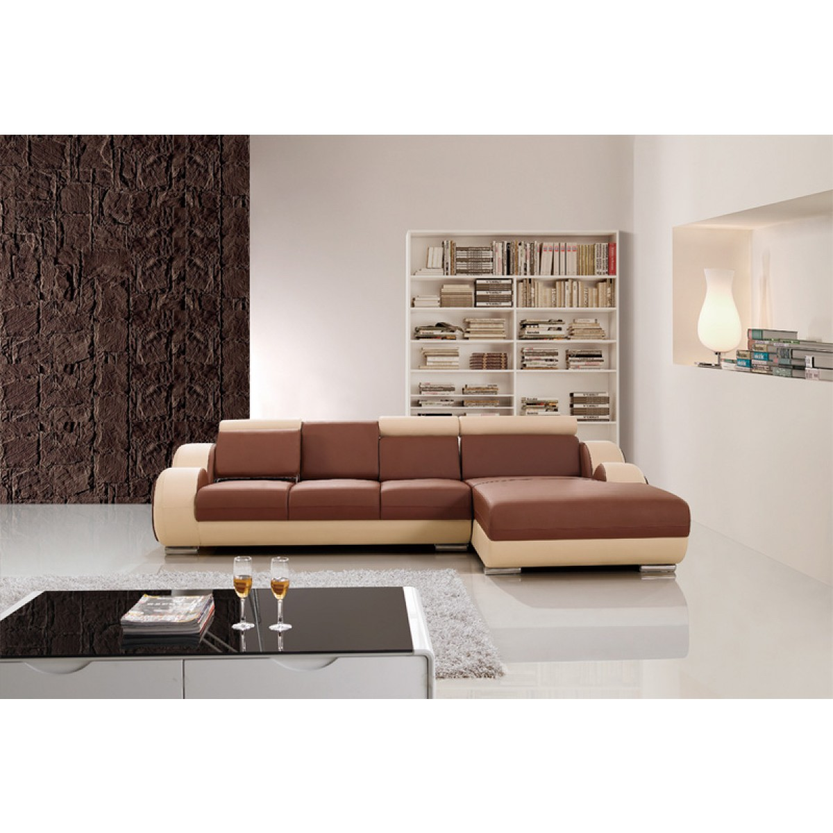 Canap d 39 angle relax en cuir 5 places roll - Capitonner un canape ...