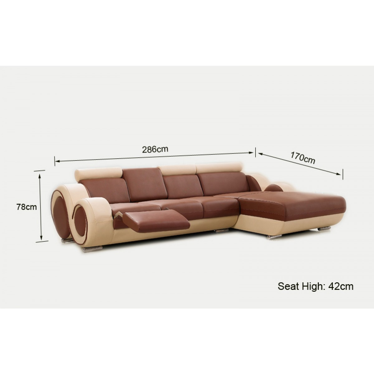 Canap d 39 angle relax en cuir 5 places roll for Dimension canape d angle