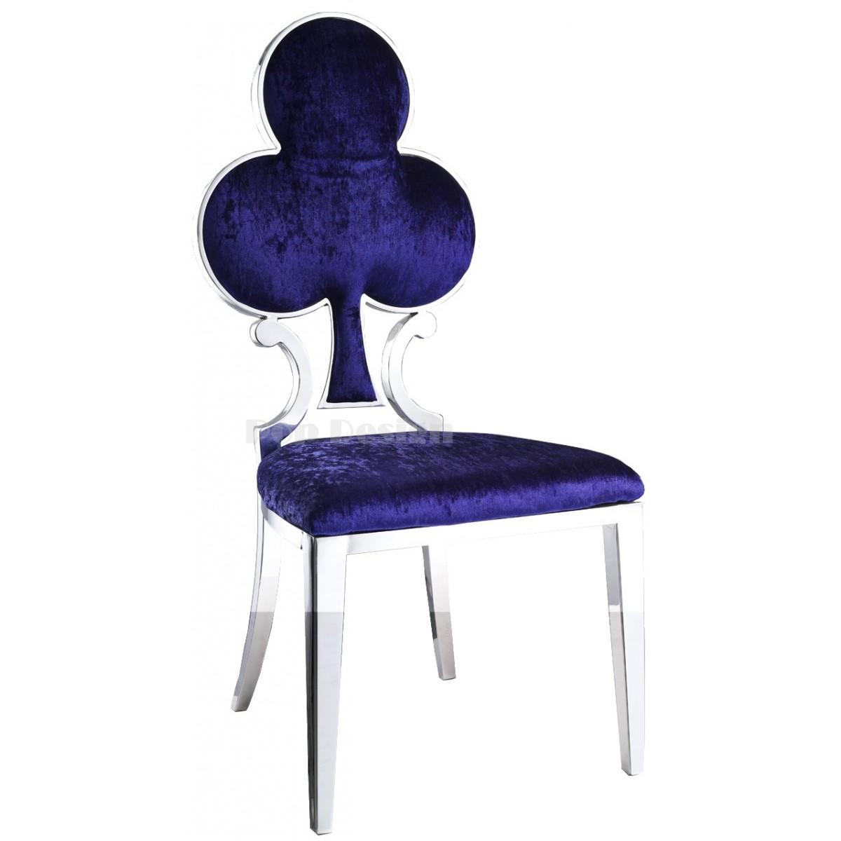 chaise en inox et velours as de tr fle lot de 6. Black Bedroom Furniture Sets. Home Design Ideas
