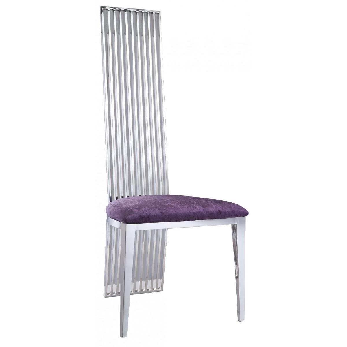 Chaise de salle manger en inox et velours sephora lot de 2 for Chaise velours salle a manger