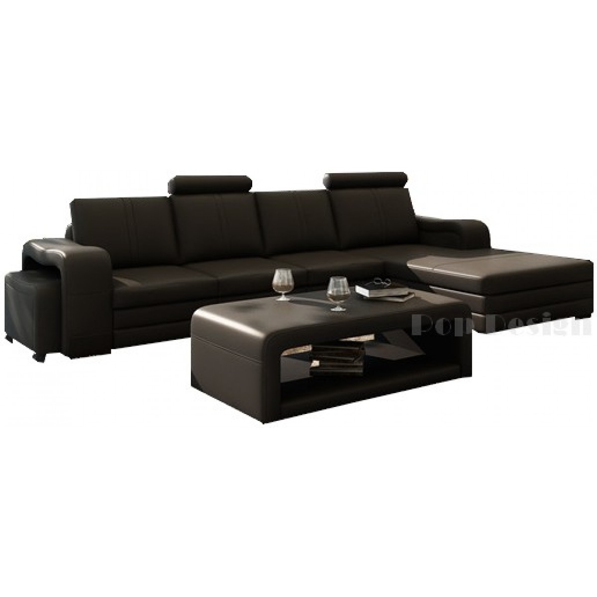 canap d 39 angle en cuir pleine fleur fabio pop. Black Bedroom Furniture Sets. Home Design Ideas