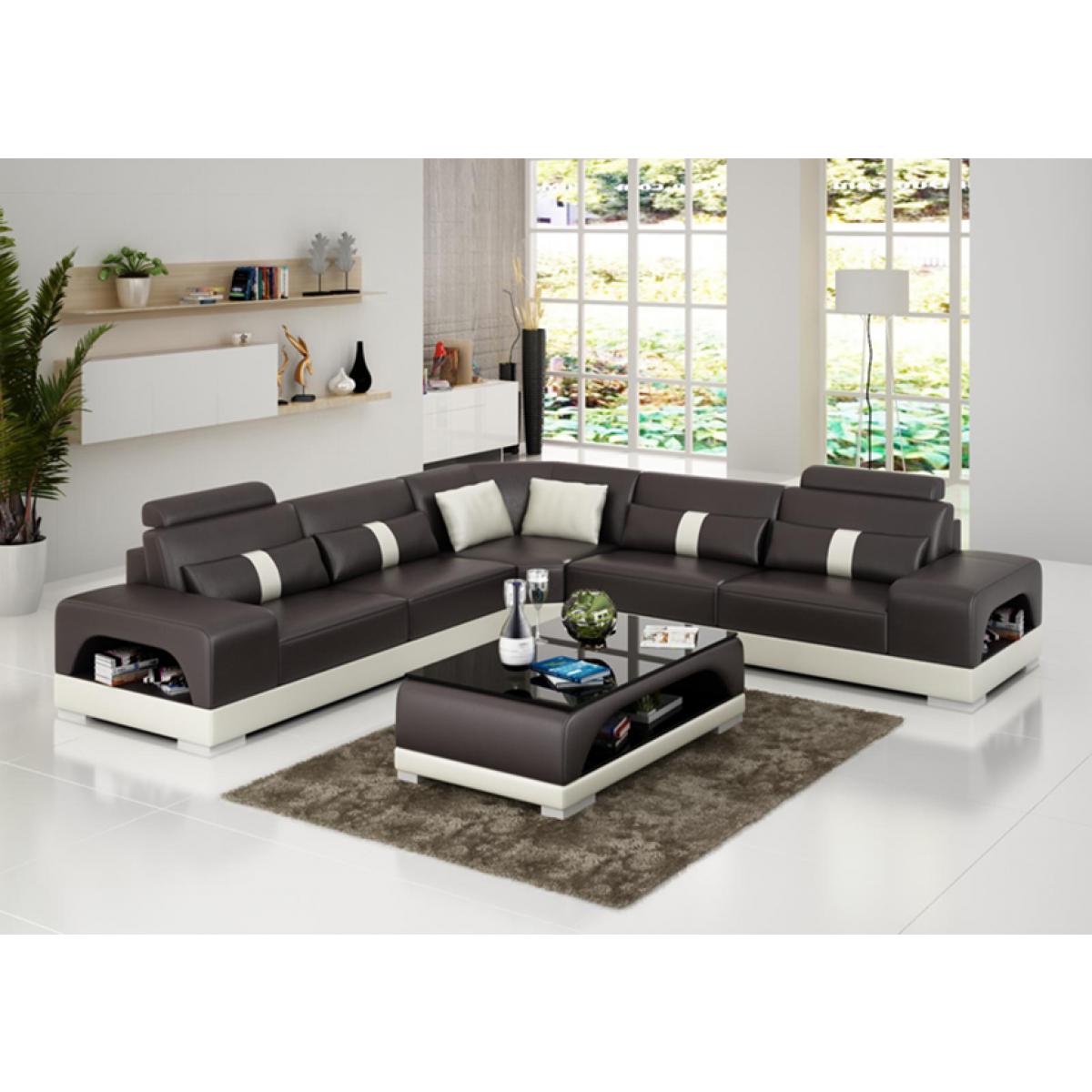 grand canap d 39 angle en cuir lyon. Black Bedroom Furniture Sets. Home Design Ideas