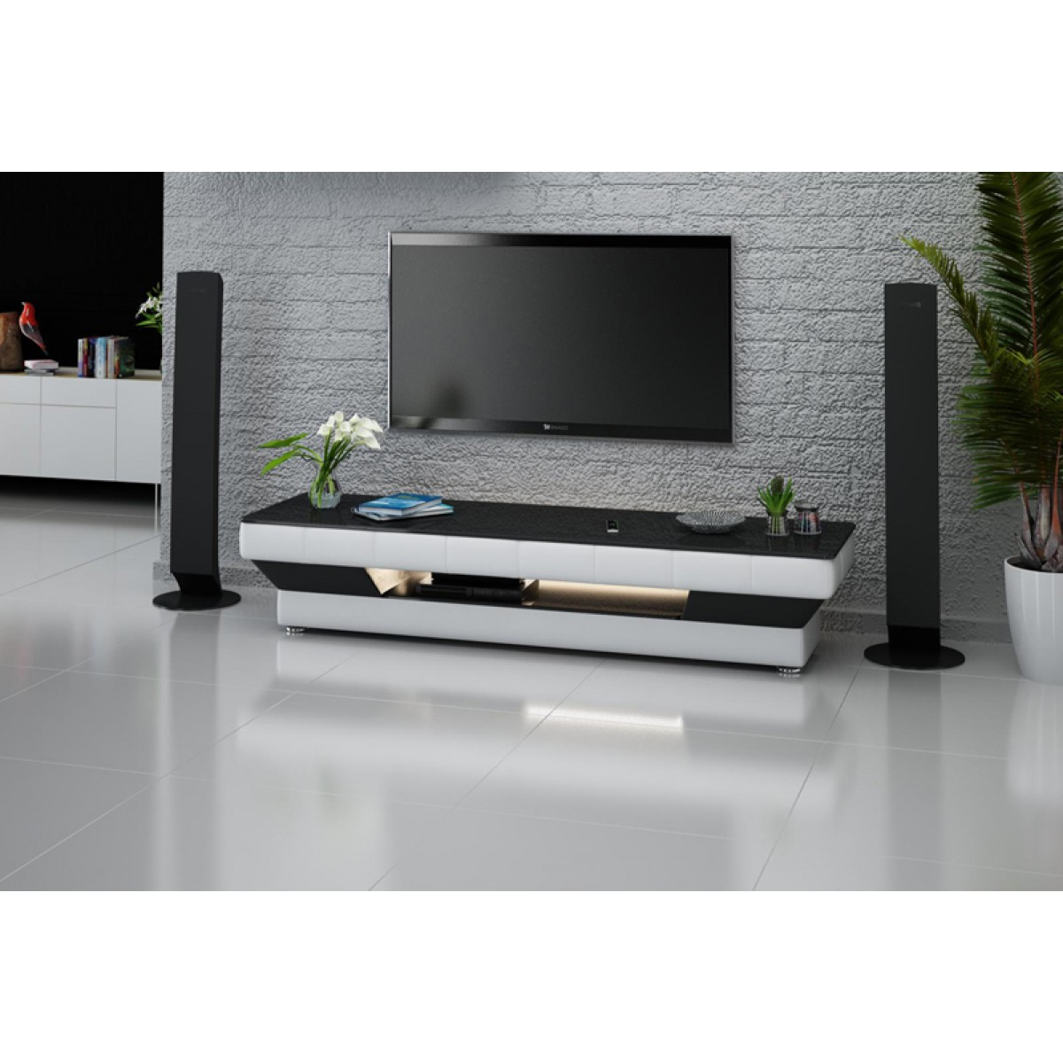 Meuble tv personnalisable california avec clairages pop - Meuble tv avec lumiere ...