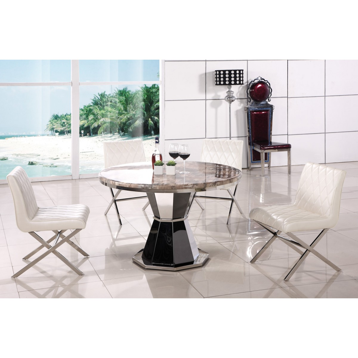 Table ronde en inox et marbre aurele - Table ronde en marbre ...