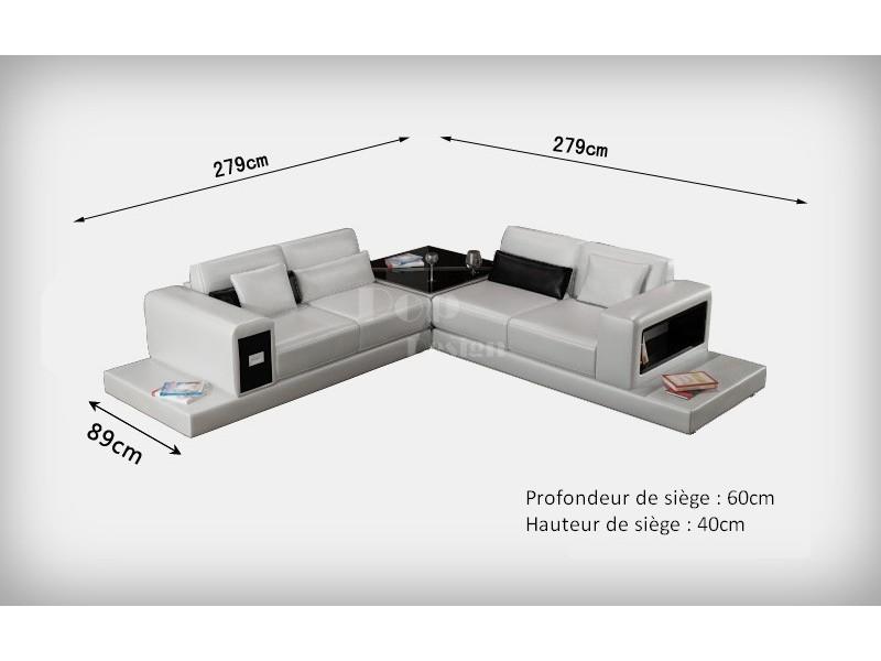 Canap d 39 angle design en cuir arezzo l table int gr e - Dessus de canape d angle ...