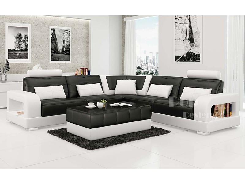 Canap d 39 angle design en cuir pleine fleur salerno xl - Canape cuir luxe design ...