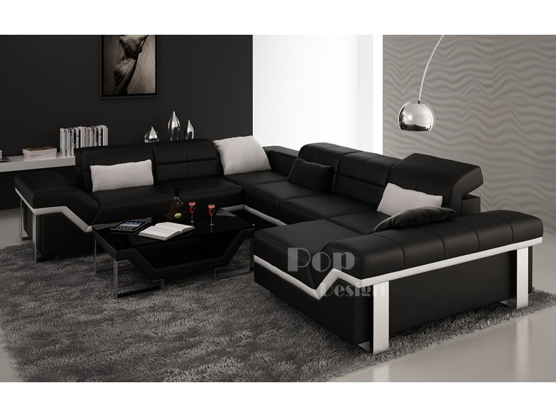 canap d 39 angle cuir panoramique design torino xl pop. Black Bedroom Furniture Sets. Home Design Ideas