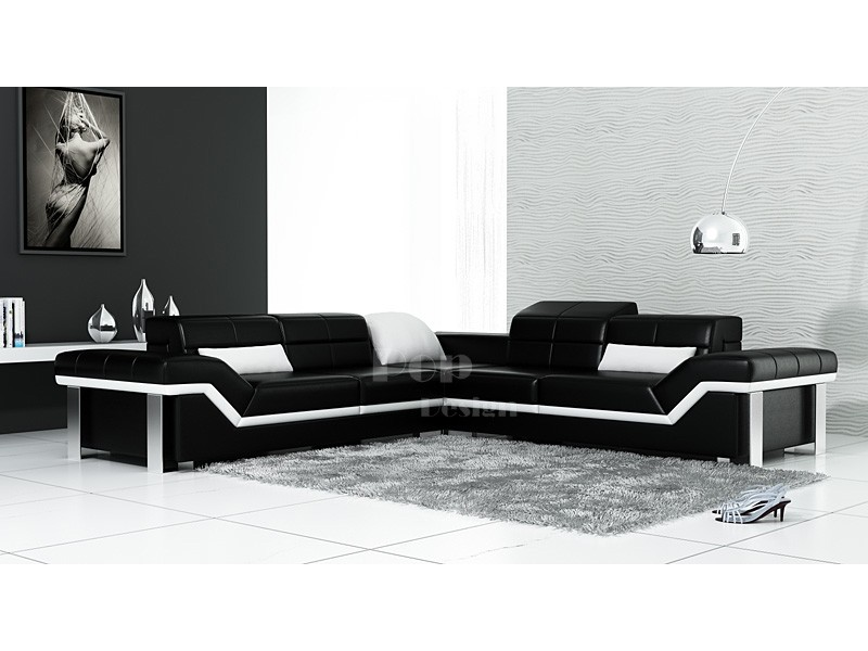 Accueil canap d angle design en cuir torino pouf pictures for Canape d angle de luxe