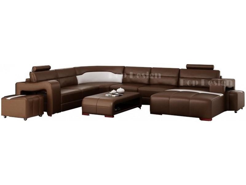 canap d 39 angle en cuir pleine fleur montpellier xl m ridienne. Black Bedroom Furniture Sets. Home Design Ideas