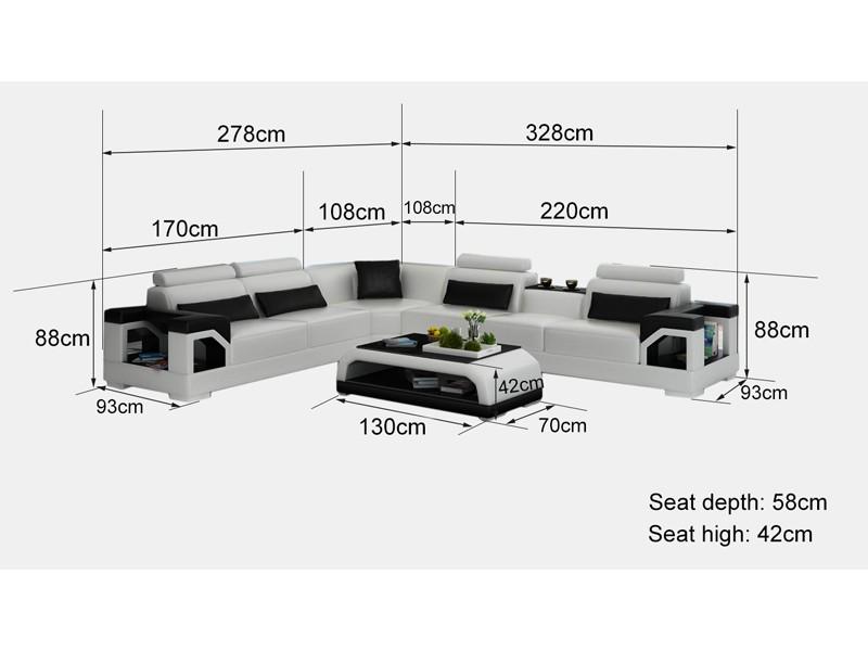 Grand canap d 39 angle en cuir nimes l 6 places lit convertible op - Dimension canape d angle ...