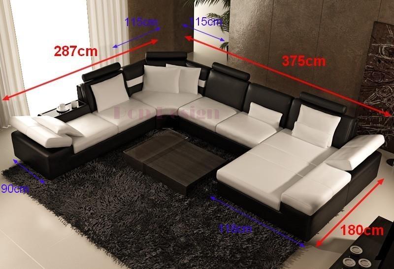 canapé panoramique cuir monaco dimensions