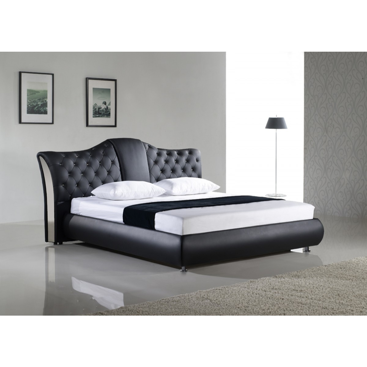 lit personnalisable royal 140 160 180 cuir ou simili sommier matela. Black Bedroom Furniture Sets. Home Design Ideas