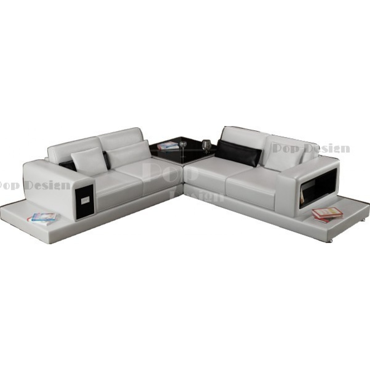 Canap d 39 angle design en cuir arezzo l table pop - Dessus de canape d angle ...