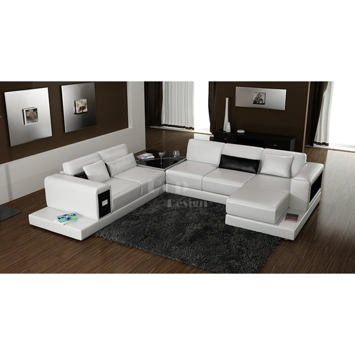 Canap d 39 angle design panoramique en cuir arezzo xxl pop for Canape design cuir
