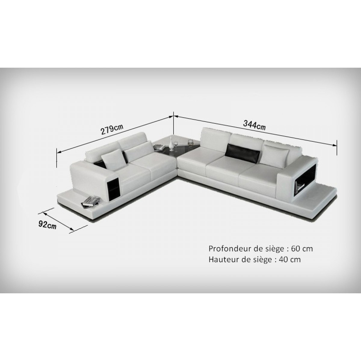 Canap d 39 angle design en cuir arezzo xl table int gr e - Dimension d un canape ...