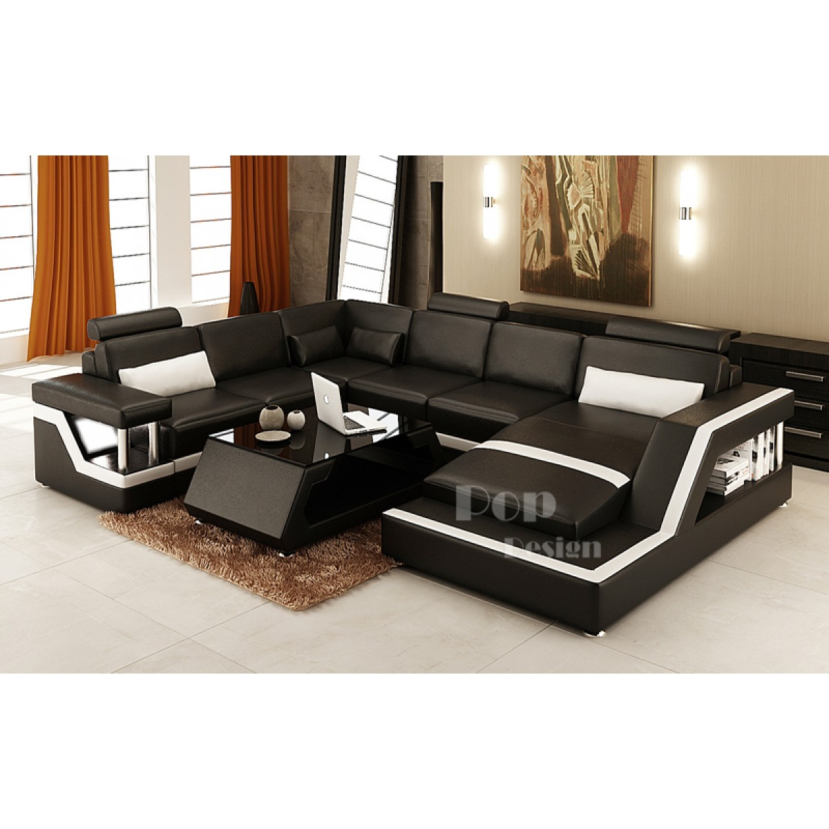 Canap d 39 angle panoramique design en cuir tosca xl clairages - Canape panoramique design ...