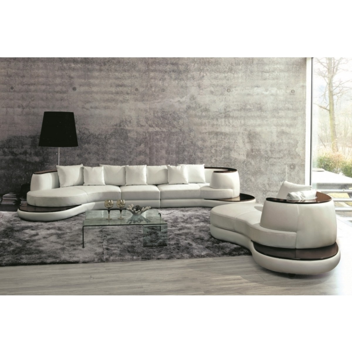 canap demi lune en cuir luna fauteuil. Black Bedroom Furniture Sets. Home Design Ideas