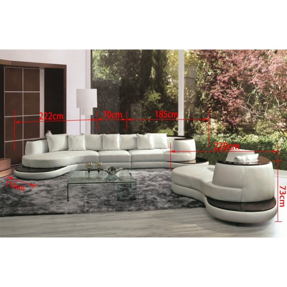 canap demi lune en cuir luna canap s. Black Bedroom Furniture Sets. Home Design Ideas