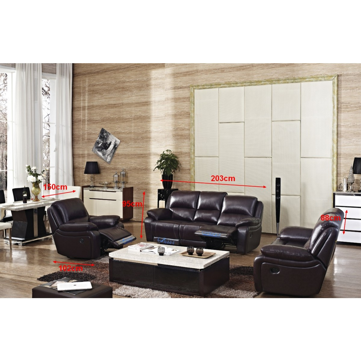 canap 3 2 1 en cuir relax president pop. Black Bedroom Furniture Sets. Home Design Ideas