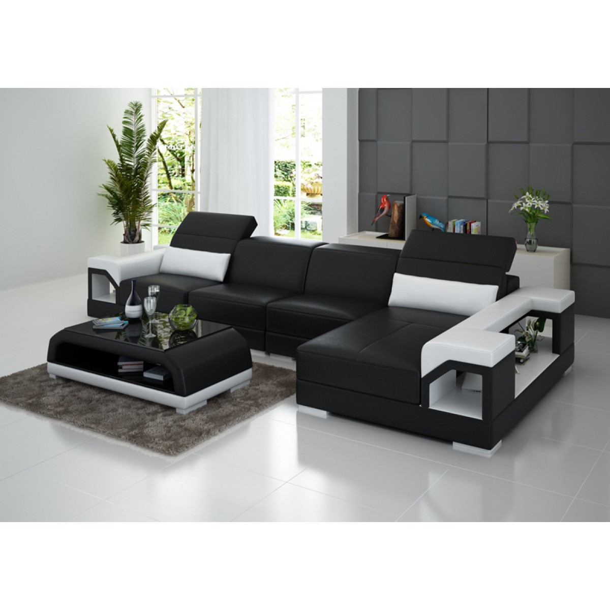 Canap d 39 angle en cuir design nimes t ti res inclinables lit convertible en option - Canape lit convertible cuir ...