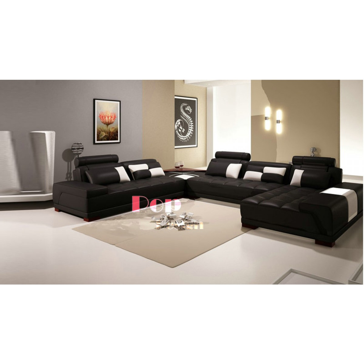 canap d 39 angle panoramique en cuir design dallas pop. Black Bedroom Furniture Sets. Home Design Ideas