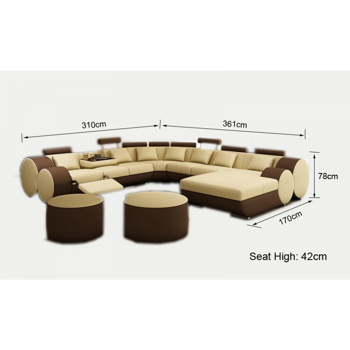 Canapé panoramique en cuir ROLLS 8 places relax