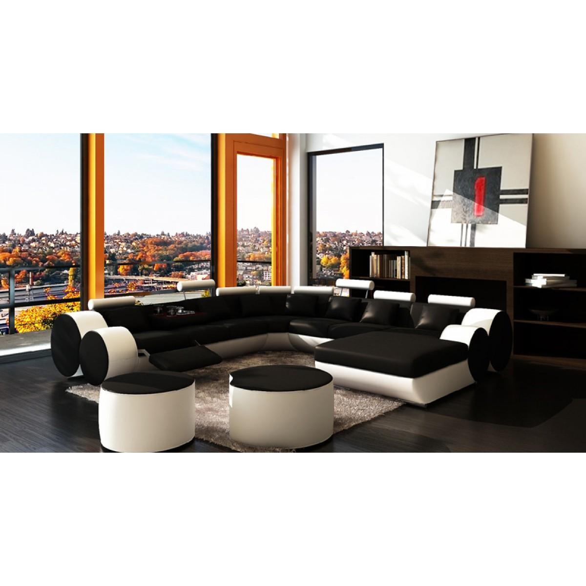 Canapé Panoramique En Cuir ROLLS Places Relax - Canape cuir epaisseur 3 mm
