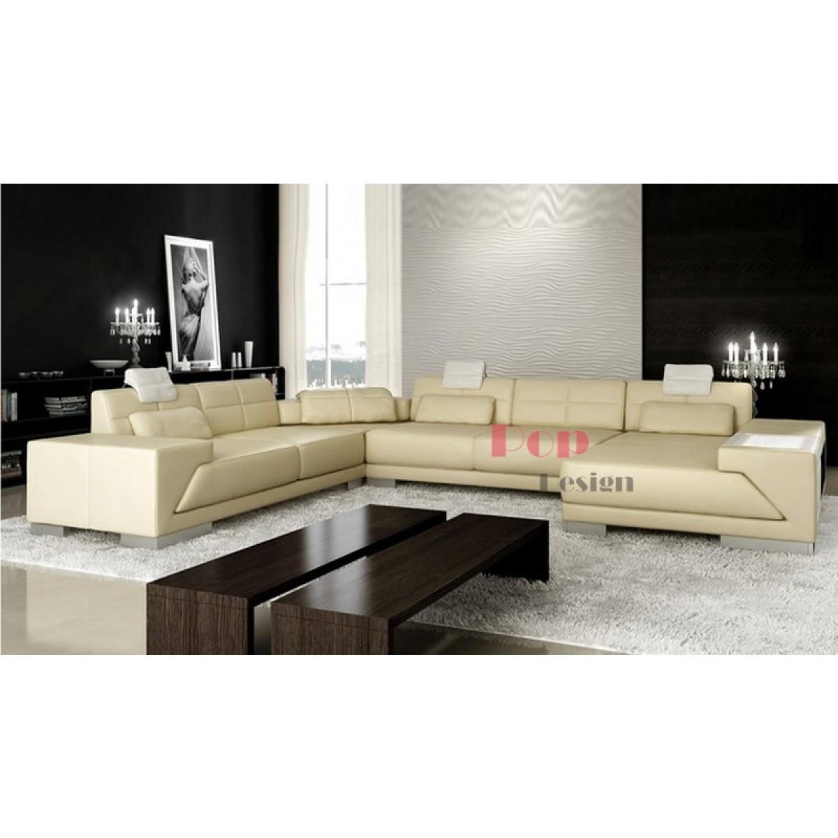 canap d 39 angle panoramique en cuir v ritable vienna pop. Black Bedroom Furniture Sets. Home Design Ideas