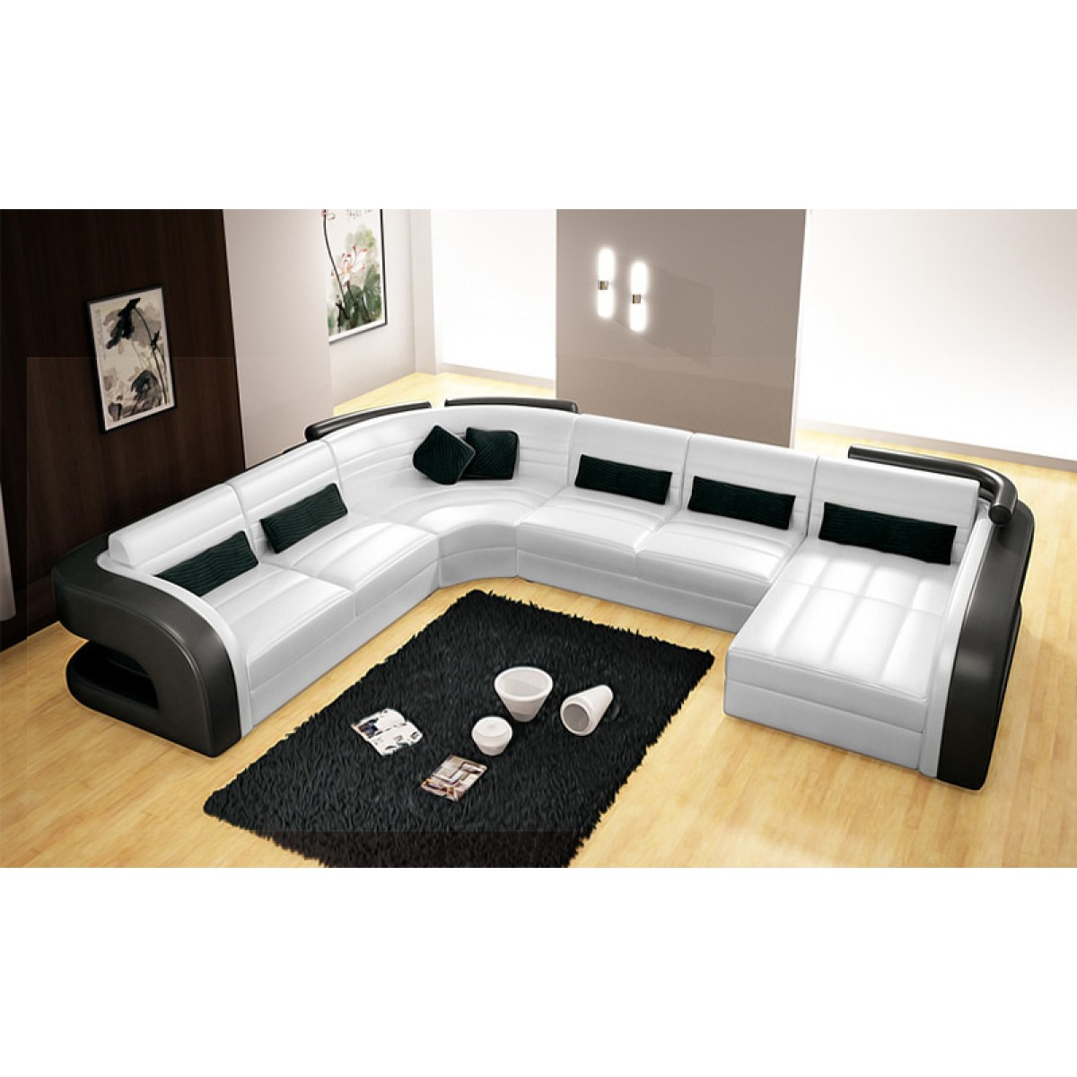 Canap d 39 angle panoramique en cuir poltroni 7 places pop - Canape cuir 7 places ...