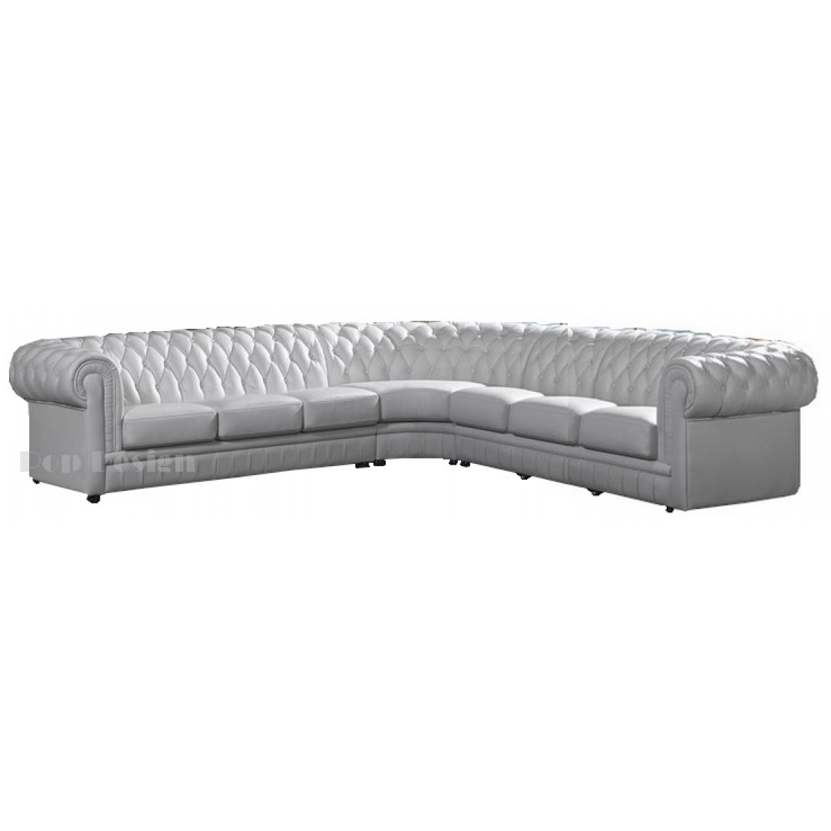 Grand canap d 39 angle en cuir pleine fleur chesterfield 7 for Canape 7 places d angle