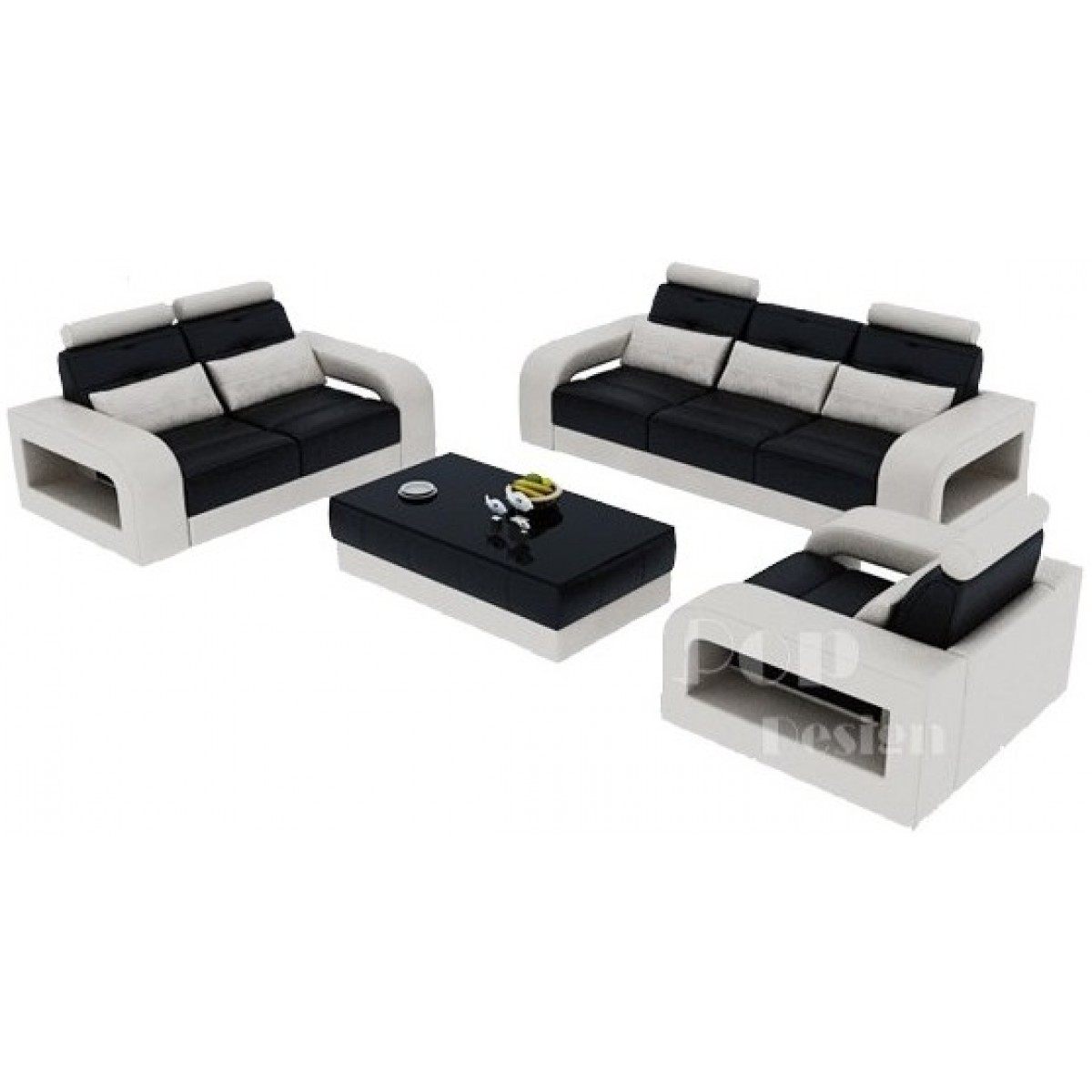Salon set canap s personnalisable en cuir design salerno pop - Canape en cuir design ...