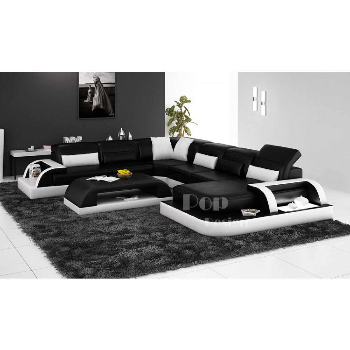 Canap d 39 angle panoramique design en cuir v ritable bolzano xl for Canape noir et blanc design