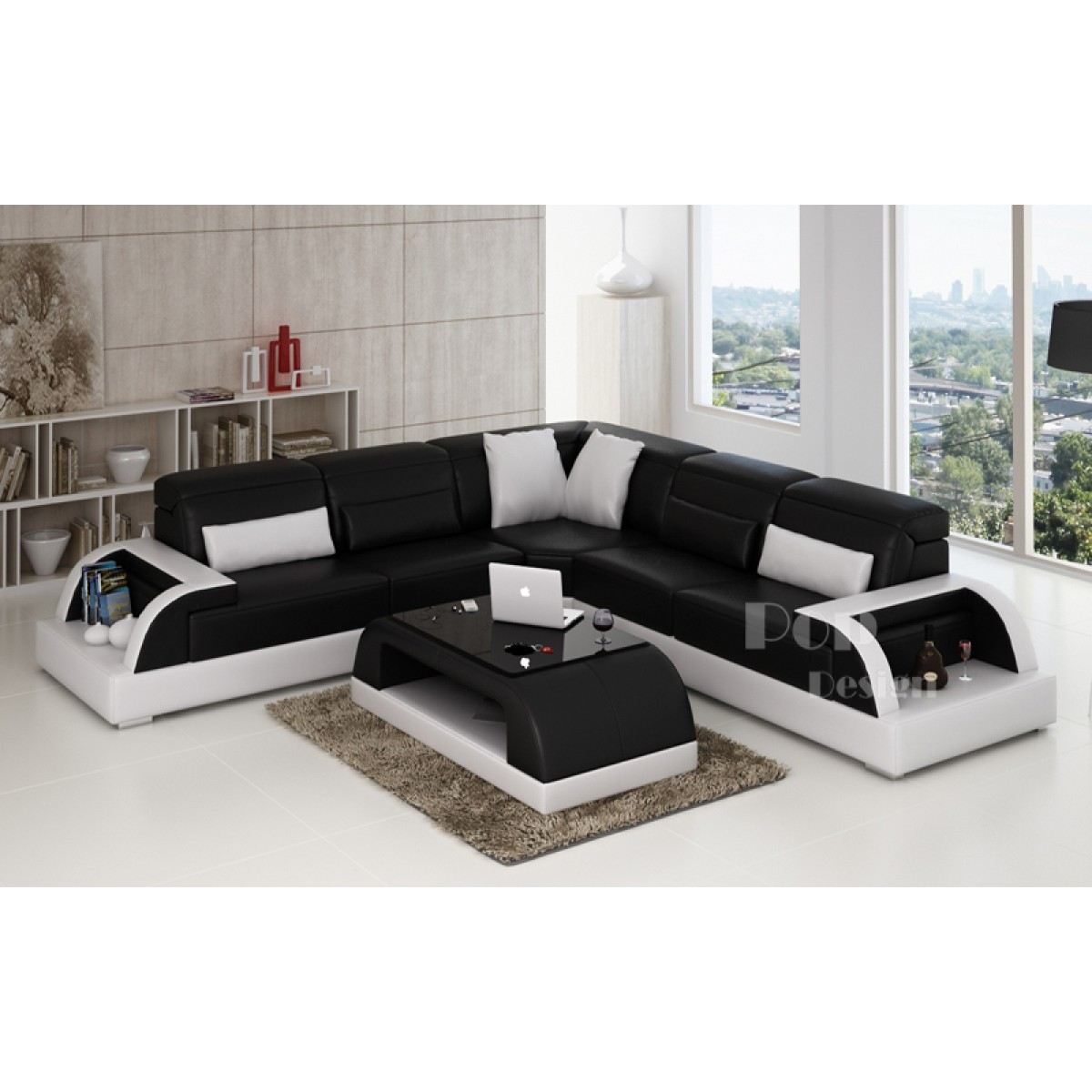 canap d 39 angle design en cuir bolzano l pop. Black Bedroom Furniture Sets. Home Design Ideas