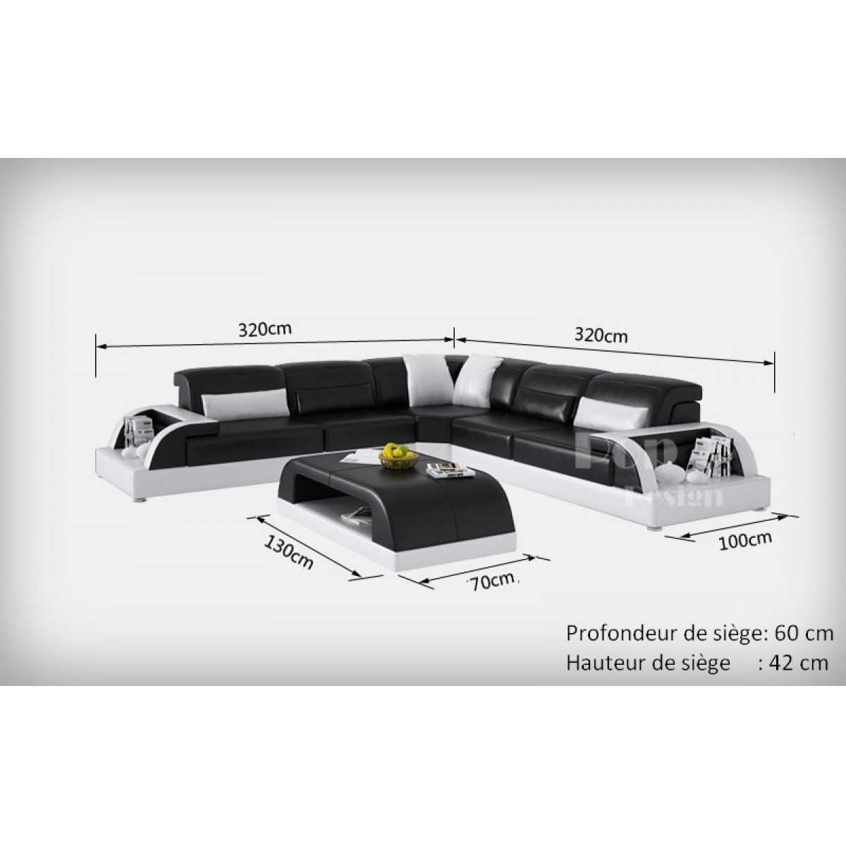 Canap d 39 angle design en cuir bolzano l pop for Dimension canape d angle