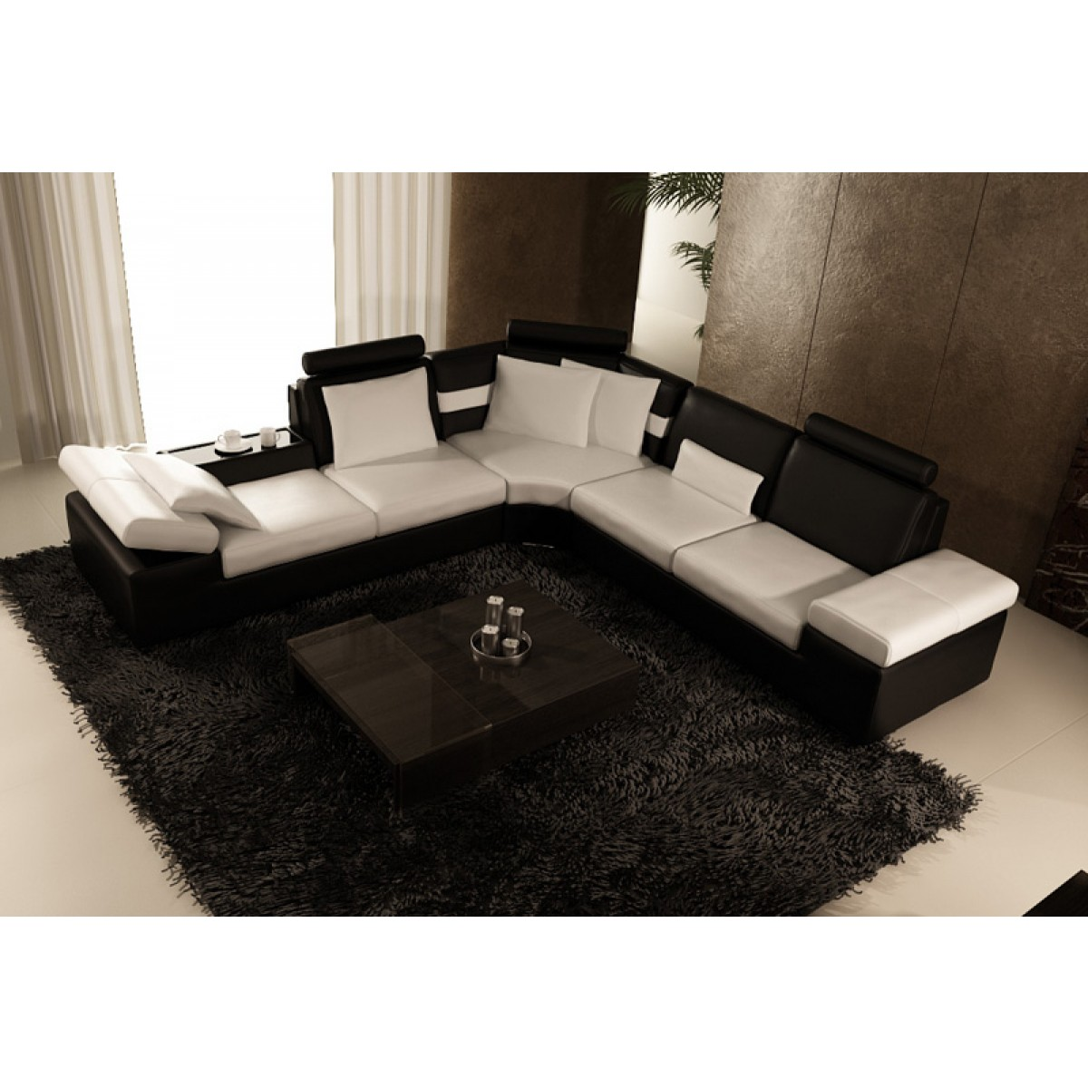 canap d 39 angle design en cuir pleine fleur monaco pop. Black Bedroom Furniture Sets. Home Design Ideas