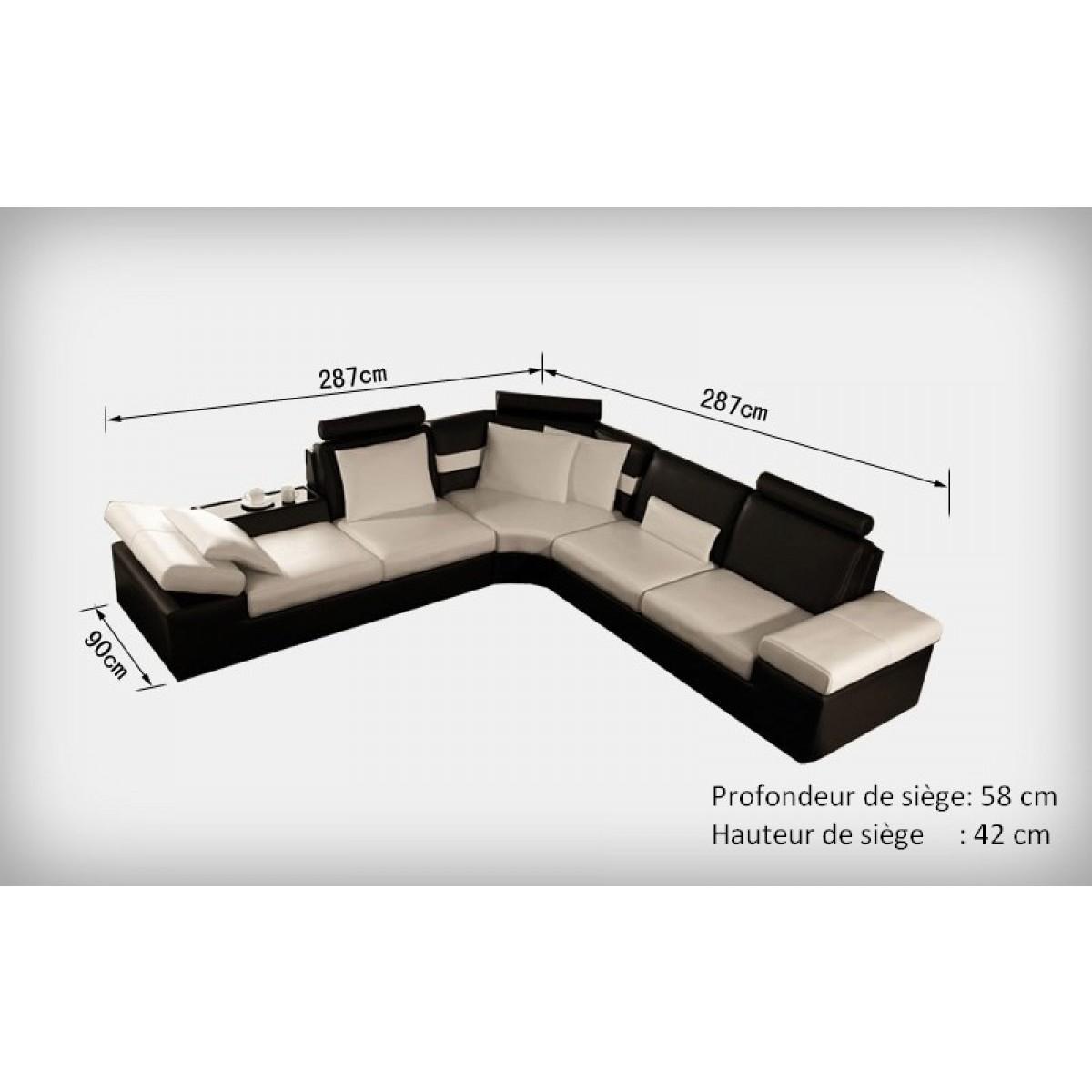 Canap d 39 angle design en cuir pleine fleur monaco pop - Dessus de canape d angle ...