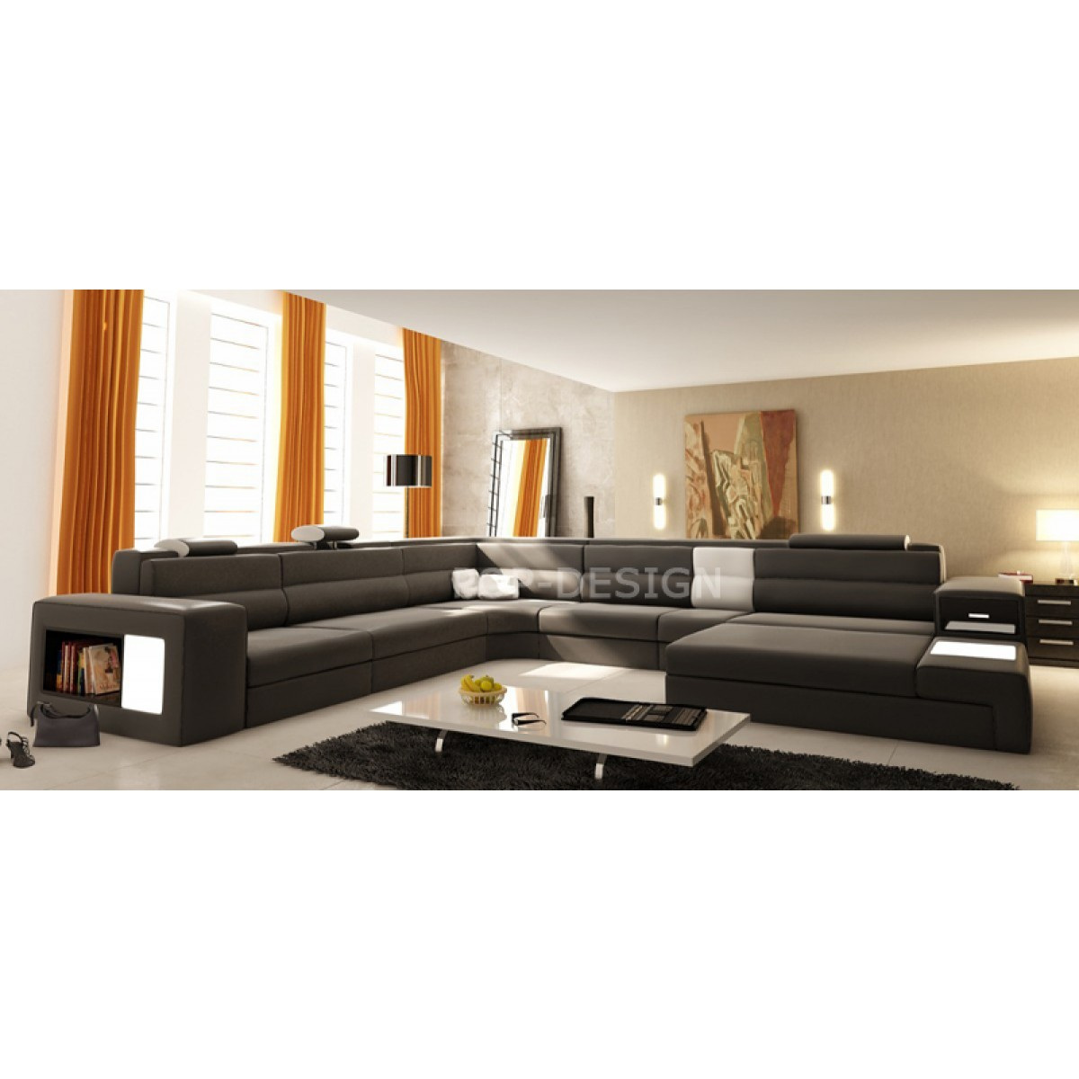 canap d 39 angle xxl design en cuir osimo rangements clairages. Black Bedroom Furniture Sets. Home Design Ideas