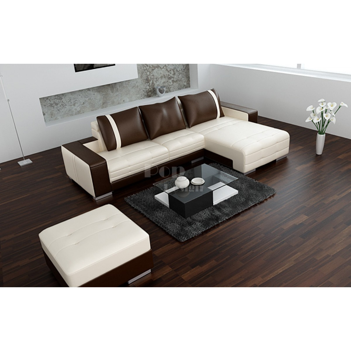 canap d 39 angle design en cuir roma pouf pop. Black Bedroom Furniture Sets. Home Design Ideas